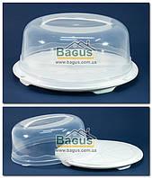 Тортівниця кругла з кришкою 31х15см пластикова (колір - білий) R Plastic, фото 1