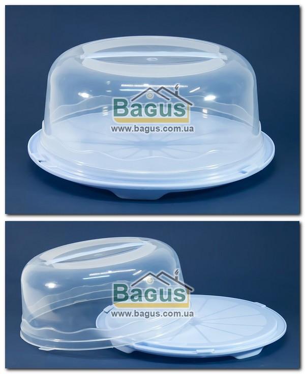 Тортівниця кругла з кришкою 31х15см пластикова (колір - блакитний) R Plastic