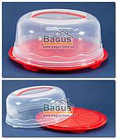 Тортівниця кругла з кришкою 31х15см пластикова (колір червоний) - R Plastic, фото 1