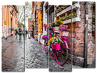 Модульная картина Interno Холст Декор из цветов на велосипеде 104х79см (R2251M)