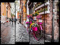 Модульная картина Interno Эко кожа Декор из цветов на велосипеде 104х79см (A2251М)