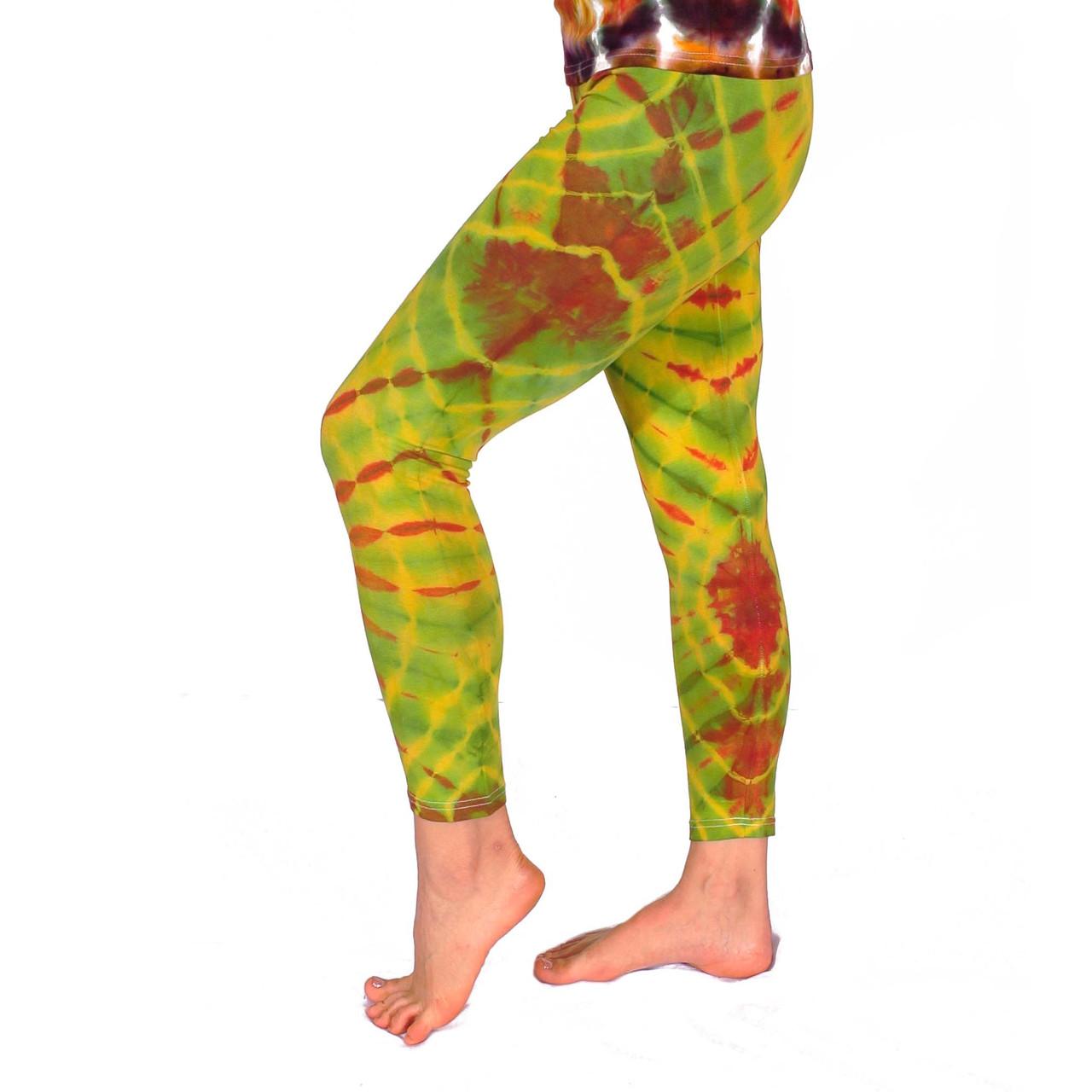 Леггинсы для йоги тай-дай, 90% хлопок, 10% эластичная лайкра