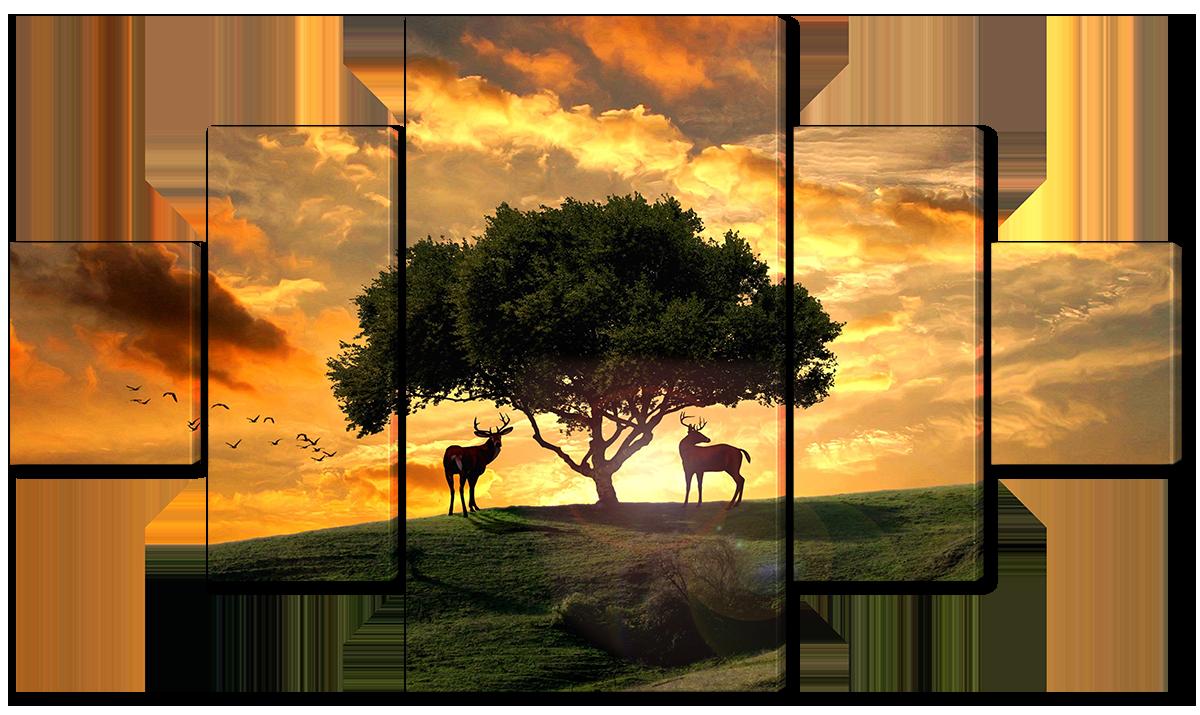 Модульная картина Interno Эко кожа Два оленя и дерево на закате 128х71см (A2268M)