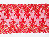 Ажурное французское кружево шантильи (с ресничками) красного цвета шириной 25 см, длина купона 1,4 м., фото 7