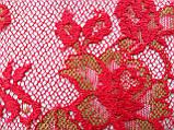 Ажурное французское кружево шантильи (с ресничками) красного цвета шириной 25 см, длина купона 1,4 м., фото 5