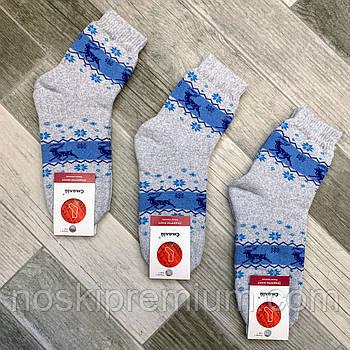 Шкарпетки жіночі махрові х/б Смалій, 23-25 розмір, малюнок 73 - Норвезька візерунок, св. сіро-блакитні