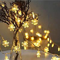 """Гирлянда новогодняя светодиодная LED - игрушка золотые """"снежинки"""" String Fly (10 снежинки на елку)"""