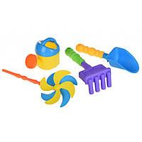Игрушка для песка Same Toy с Воздушной вертушкой (желтая лейка) 4 шт (HY-1203WUt-2)