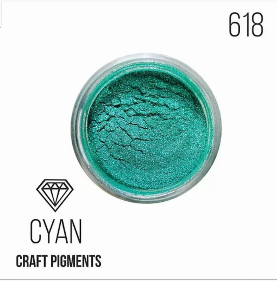"Пигмент перламутр ""Cyan"", сине-зеленый, для смолы, Крафтсмен. Уп. 10 мл"