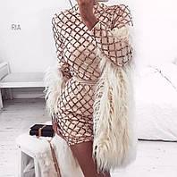 Белое вечернее платье с золотой пайеткой Ria