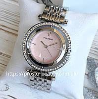 Женские часы Pandora (Пандора) серебро с крутящимся корпусом циферблат розовый с камнями