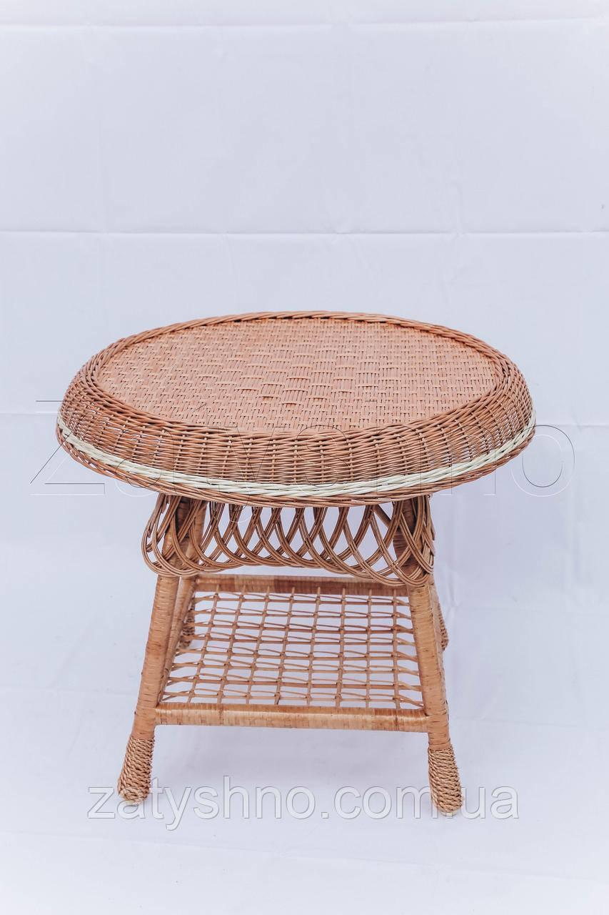 Стол из лозы журнальный с полкой | журнальный столик из лозы | столик плетёный из лозы