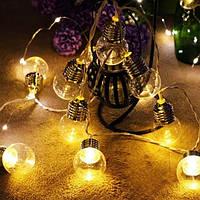 """Гирлянда новогодняя светодиодная LED - игрушка золотые """"лампочки"""" String Fly (10 лампочек на елку)"""