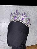 Висока корона півколом срібного кольору з фіолетовим камінням (8cm), фото 2