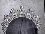 Висока корона півколом срібного кольору з фіолетовим камінням (8cm), фото 3