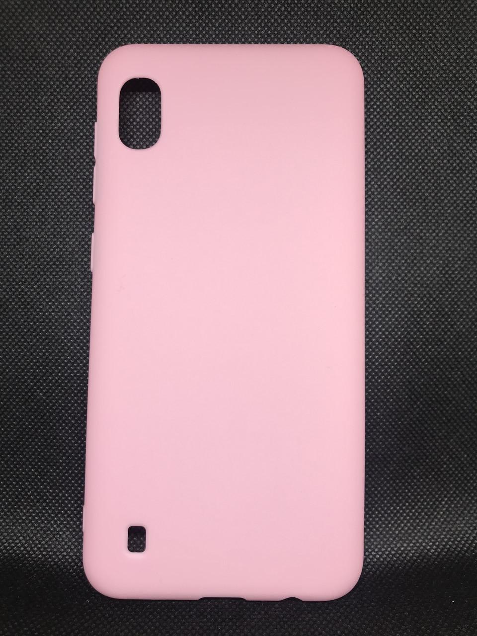 Samsung Galaxy A10 2019 (A105F) цветной матовый силиконовый ультратонкий чехол/ бампер/ накладка розовый