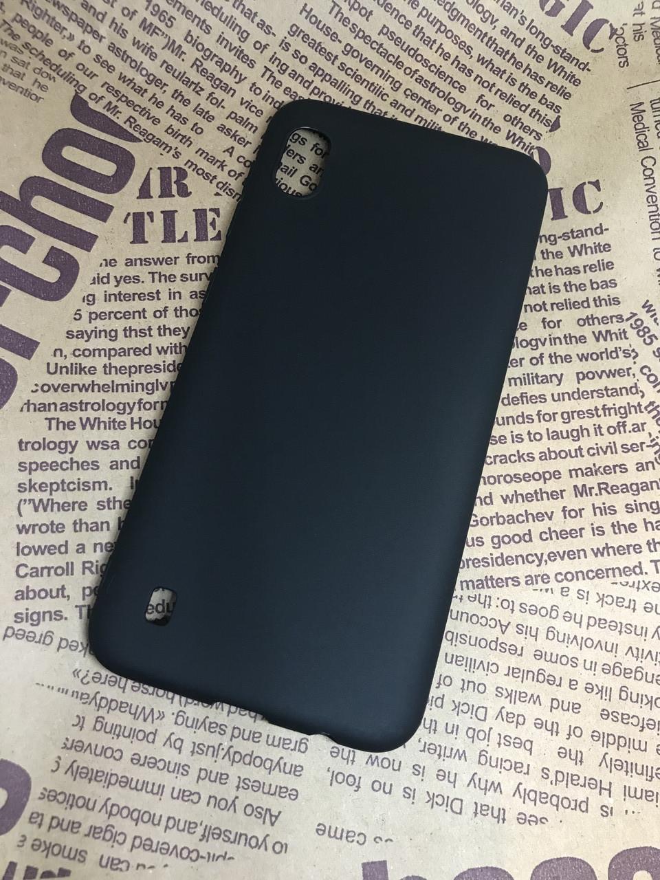 Samsung Galaxy A10 2019 (A105F) цветной матовый силиконовый ультратонкий чехол/ бампер/ накладка черный
