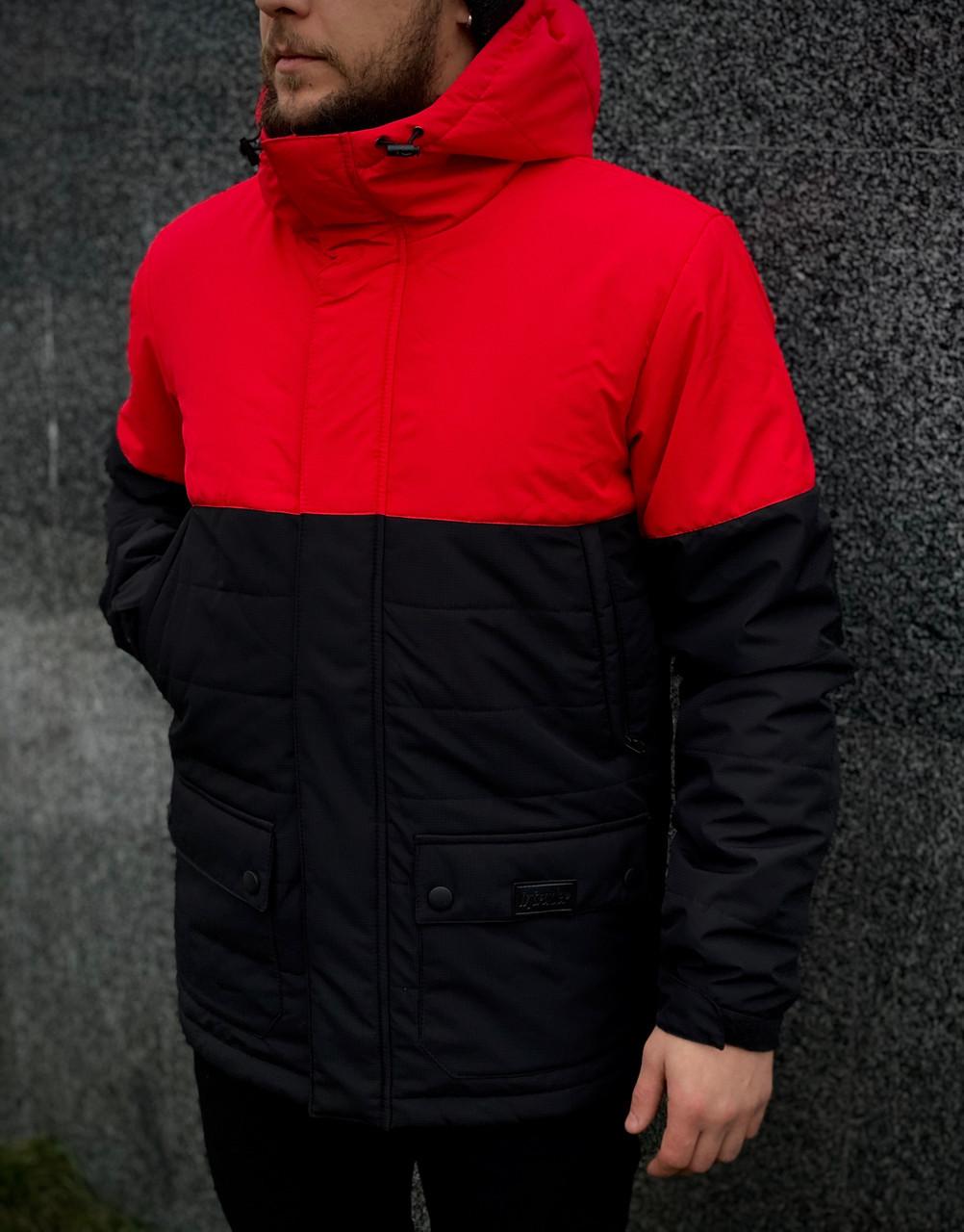 """Демисезонная мужская куртка Intruder """"Waterproof"""" красная - черная в размере S 46 M 48 L 50 XL 52"""