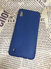 Samsung Galaxy A10 2019 (A105F) цветной матовый силиконовый ультратонкий чехол/ бампер/ накладка синий