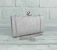 Вечерний клатч Rose Heart 21570 серебристый, сумочка на цепочке, фото 1