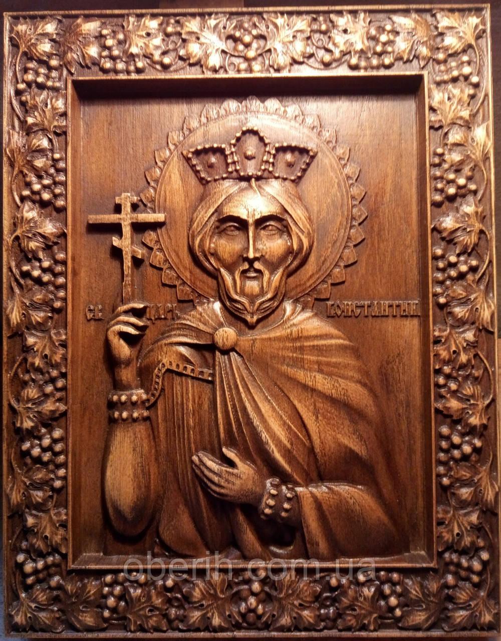 """Ікона, різьблена дерев'яна """"Св. Мученик Костянтин"""" (30х23см бук)"""