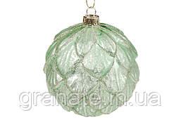 Елочный шар 10см рельфной формы с декором из глиттера, цвет - травяной зеленый, 4шт