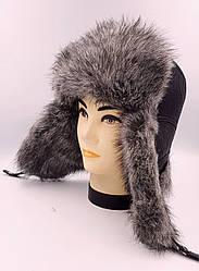 Зимняя мужская шапка-ушанка  Klaus Кожзам с Искусственным Мехом 56-60 Чёрная с Серым (09/29)