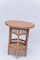 Плетеный круглый стол с полкой | журнальный столик из лозы | столик плетёный из лозы