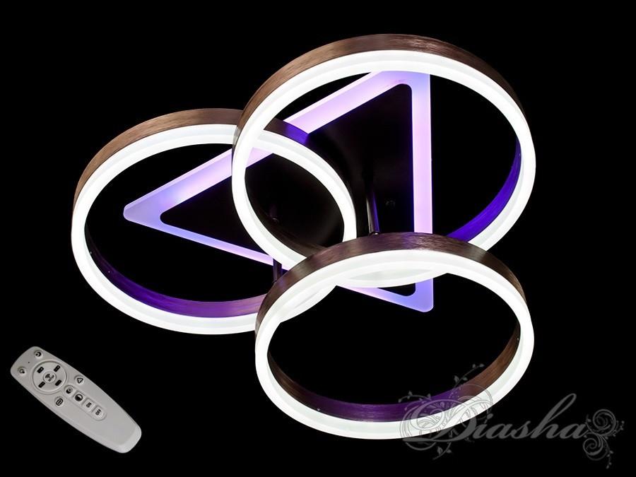 Стельова LED-люстра з діммером і підсвічуванням 8872/3CF LED 3color dimmer