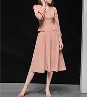 Стильное  пудровое  платье