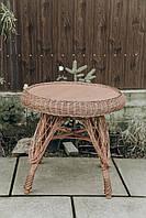 Стол из лозы журнальный с полкой   журнальный столик из лозы   столик плетёный из лозы