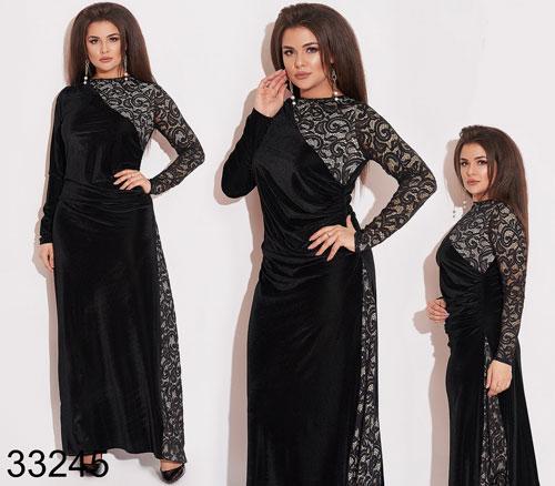 Вечернее длинное платье из бархата черный р.50,52,54,56