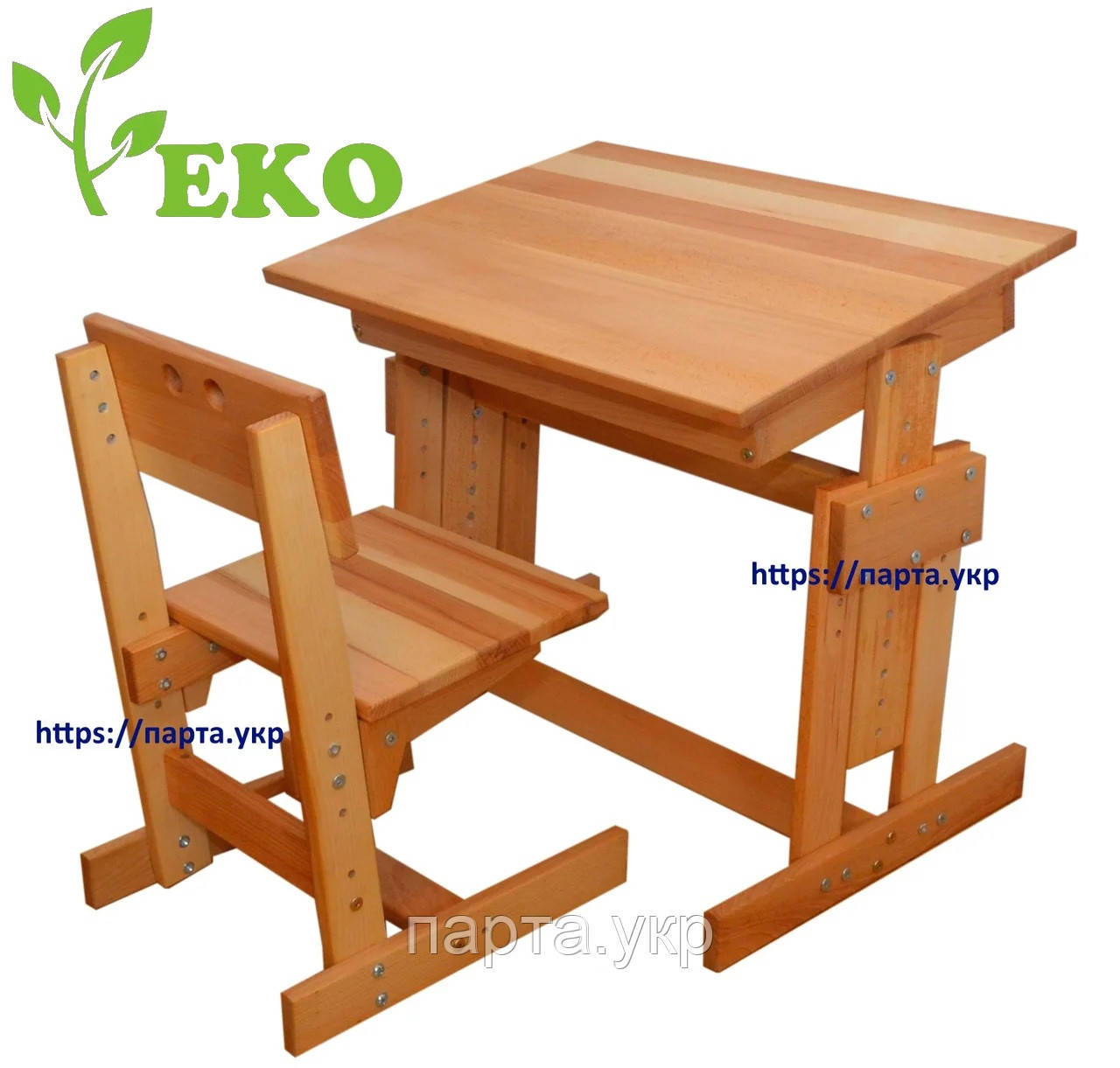 Комплект парта и стул из дерева бук, эко