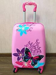 """Детский чемодан на 4 колесах для девочки """"Бабочки"""" 45*31*21"""