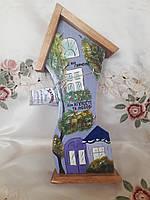 Ключница домик на 4 ключа 35 см. Дерево роспись, фото 1