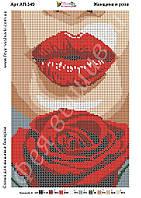 Схема для полной вышивки бисером Женщина и роза