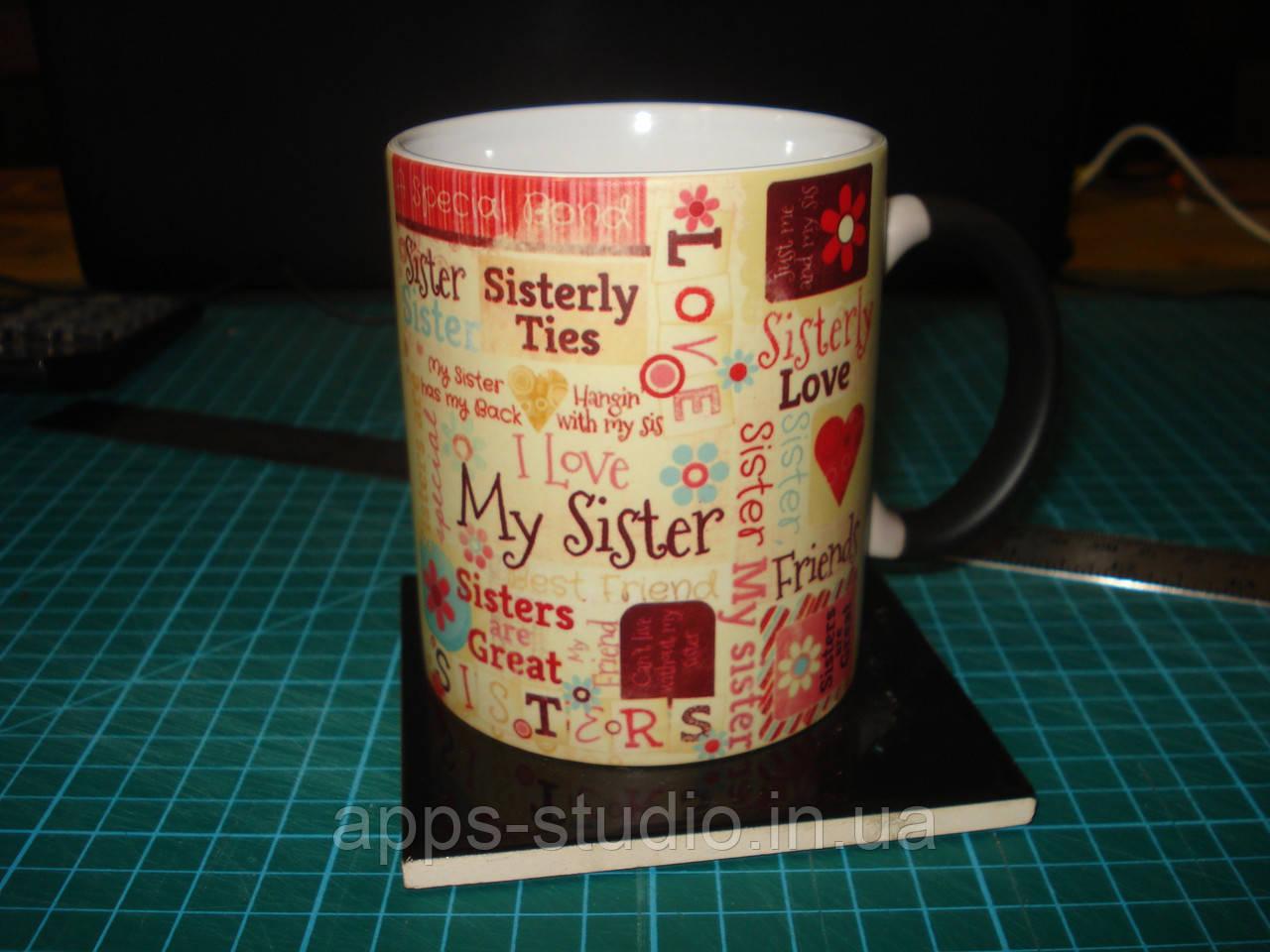 """Фото на чашці з надписом """"хамелеон"""""""
