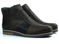 Коричневые кожаные зимние ботинки на меху мужская обувь Rosso Avangard #294 BS Brown Night