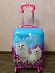 """Детский чемодан на 4 колесах для девочки  """"Котики"""" 45*31*21"""