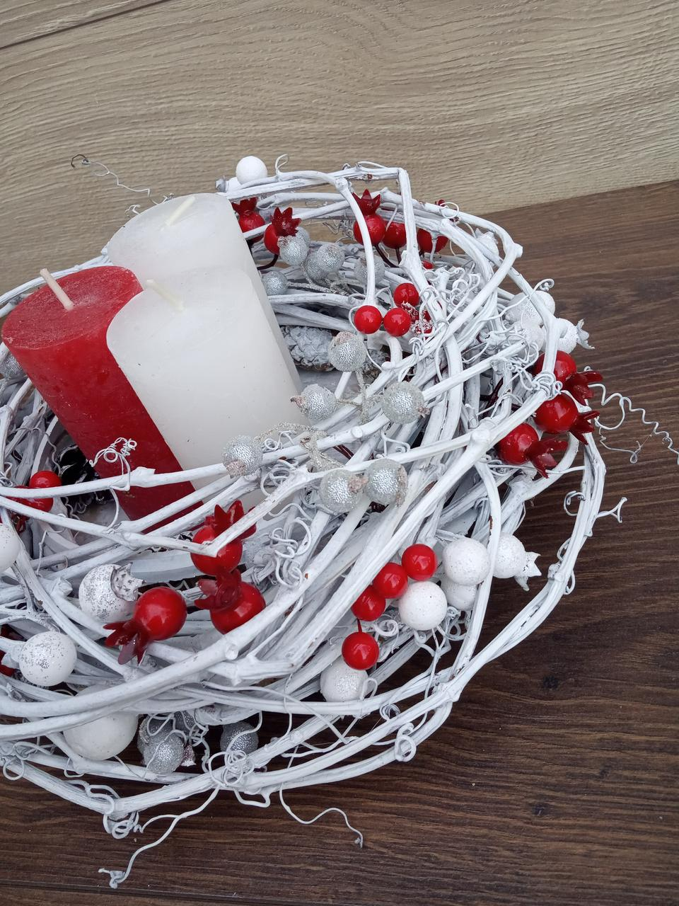 Композиція Новорічна зі свічкою на стіл, Різдвяна свічка. Підсвічник Новорічний, Різдвяний зі свічкою.