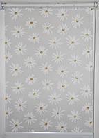 Готовые рулонные шторы ткань Ромашки Белый