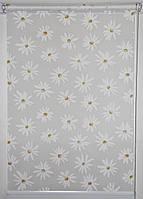 Готовые рулонные шторы 375*1500 Ткань Ромашки Белый, фото 1
