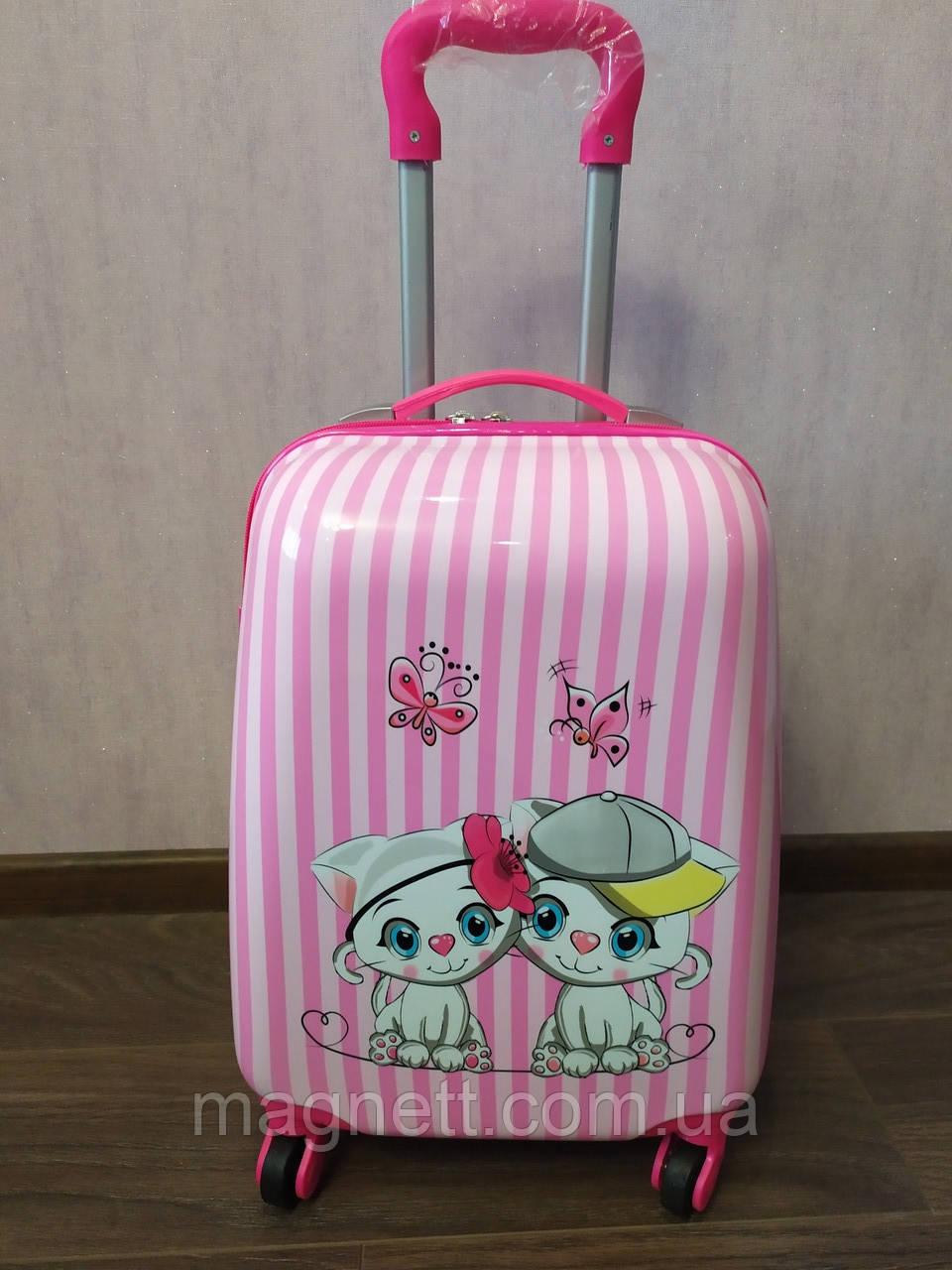 """Дитяча валіза на 4 колесах для дівчинки """"Котики"""" 45*31*21"""