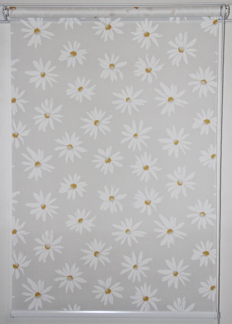 Рулонная штора 700*1500 Ромашки Белый