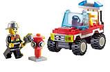 Конструктор SLUBAN арт 0621 пожарный, джип, фигурка, 58 дет, фото 3