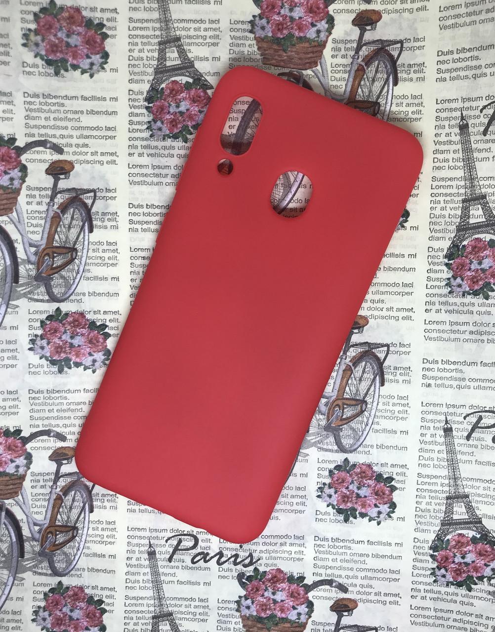 Samsung Galaxy A20 2019 (A205F) цветной матовый силиконовый ультратонкий чехол/ бампер/ накладка красный