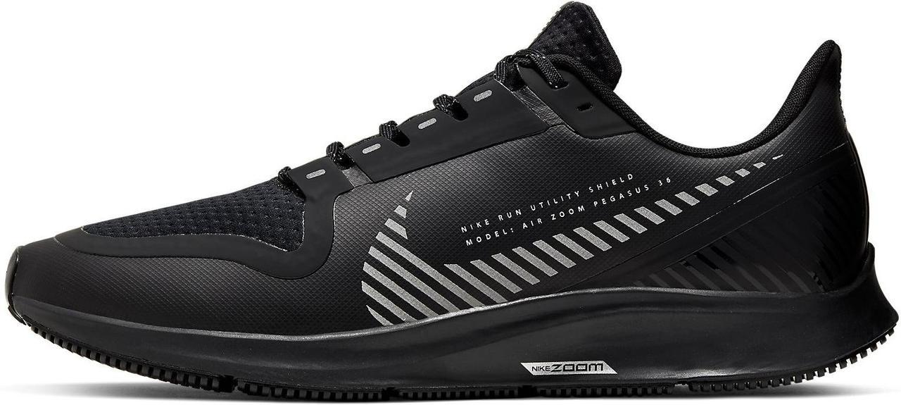 Кроссовки Nike Air Zoom Pegasus 36 Shield 2019 Black/Metallic Silver AQ8005-001 черные мужские