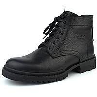 Зимние ботинки ручной работы обувь для мужчин из натуральной кожи Ultimate Black by Rosso Avangard
