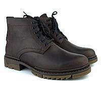 Зимние коричневые ботинки ручной работы обувь для мужчин из кожи Rosso Avangard Ultimate Crazy Brown 40, 27, Натуральный мех