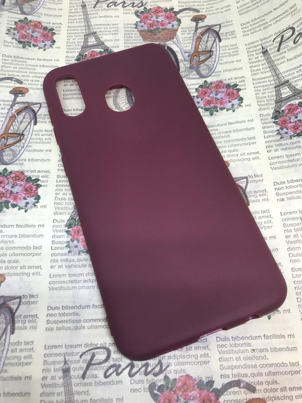 Samsung Galaxy A20 2019 (A205F) цветной матовый силиконовый ультратонкий чехол/ бампер/ накладка бордовый